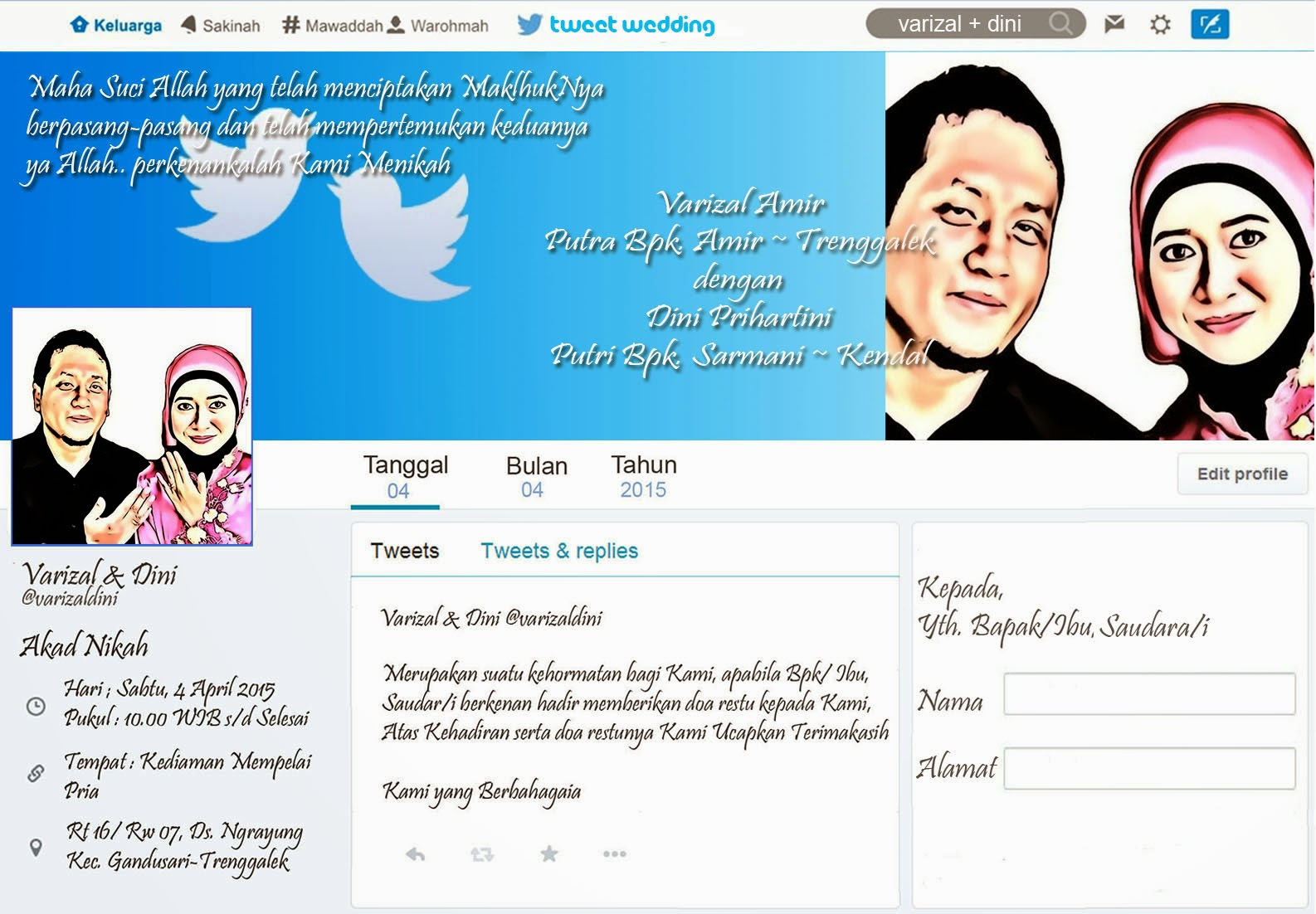 Undangan pernikahan gaya twitter