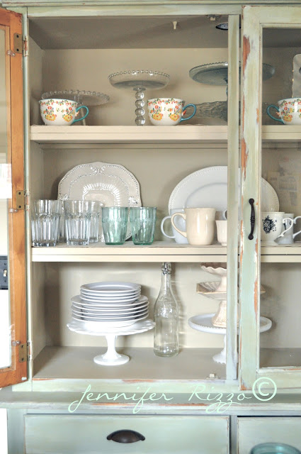 Use a hutch as storage instead of cabinets
