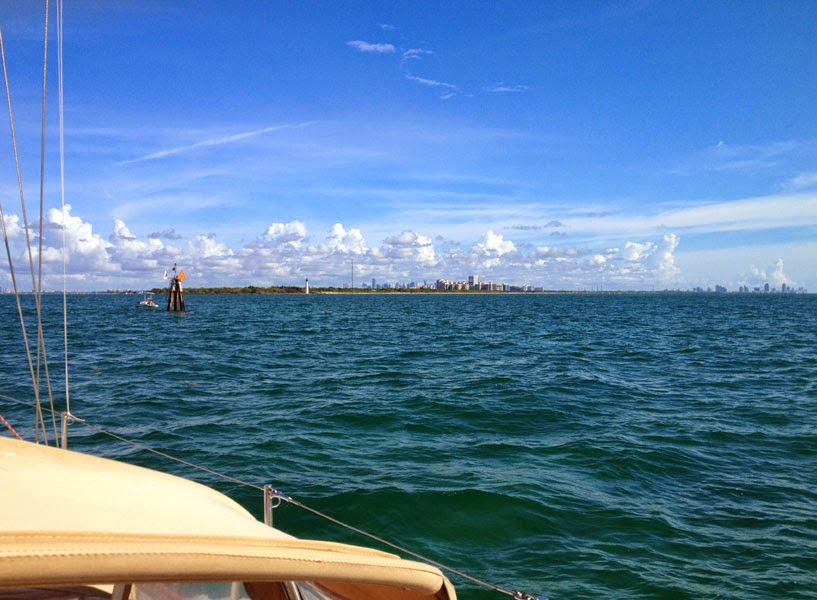 Approaching Key Biscayne: Cape Florida Lighthouse, Miami and Fort Lauderdale skylines