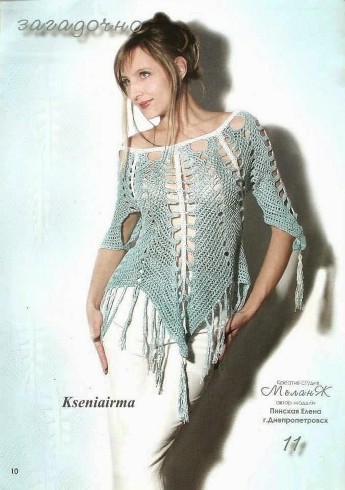 Magnífica blusa al crochet con diseño de picos - con esquema