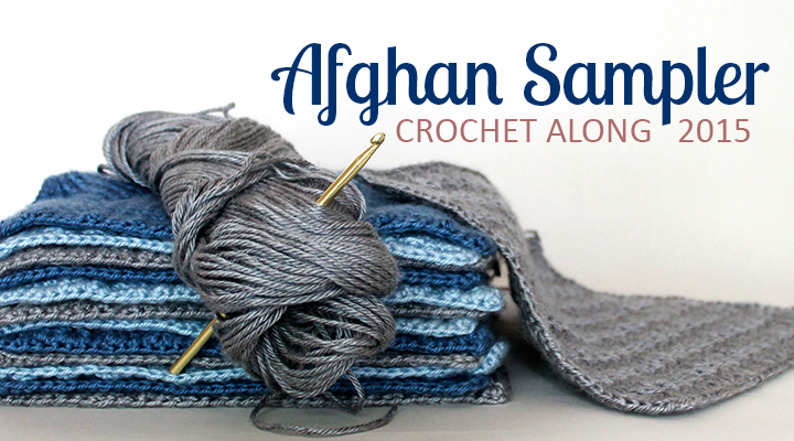 Crochet along to make a contemporary afghan sampler over the course of one year -- have a finished blanket in time for Christmas giving.