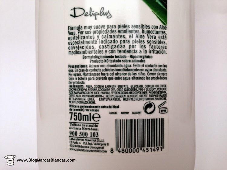 Gel de ducha regenerante con aceites esenciales de aloe vera Deliplus de Mercadona con pH neutro para la piel. Fabricado por Laboratorios Maverick.