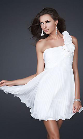 One+Shoulder+Chiffon+Cocktail+Dress