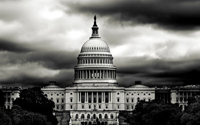 White House America Black White Photography Dark Clouds HD Desktop Wallpaper