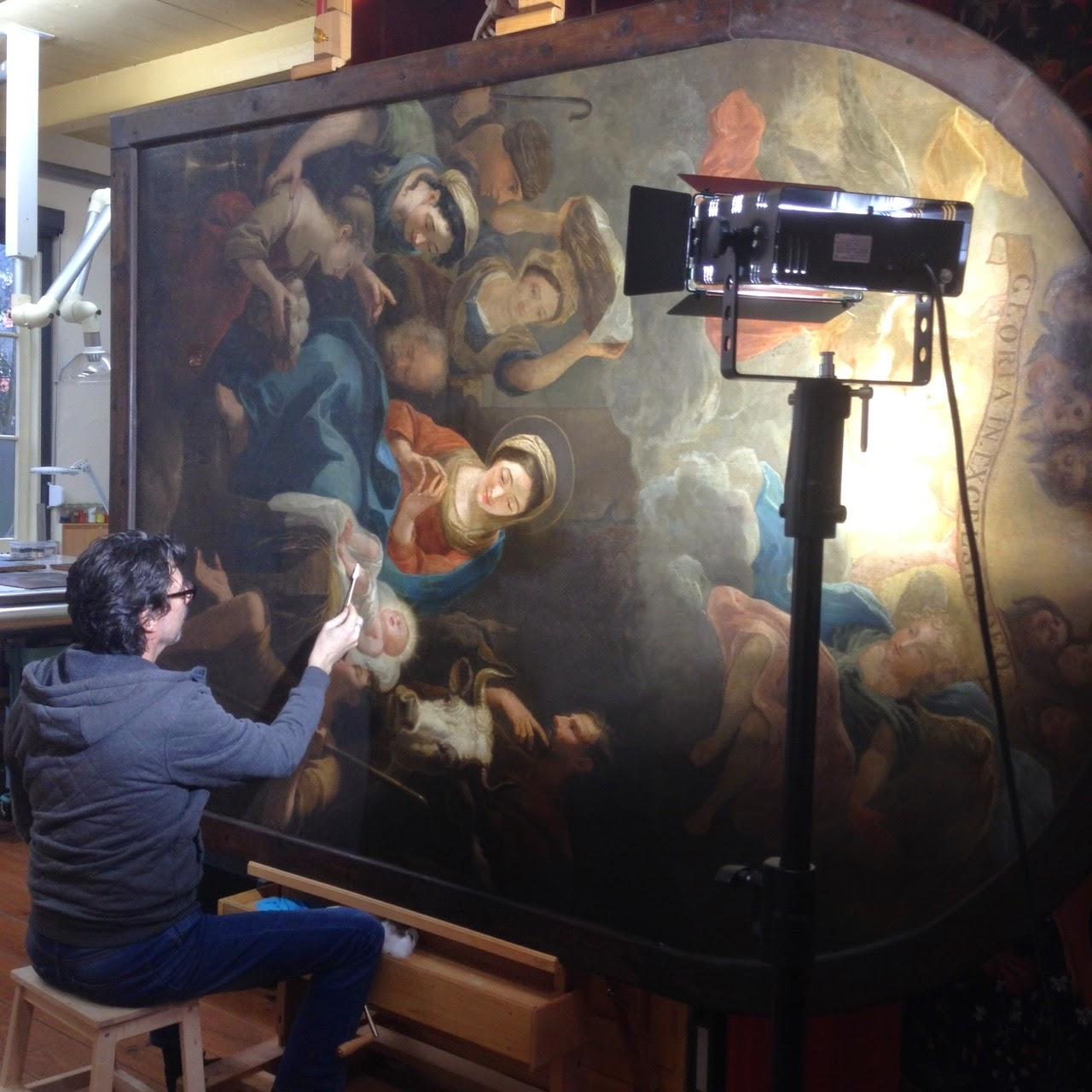 actiefoto restauratie altaarstuk Boomkerk