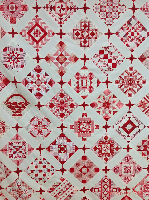 'Nearly Insane' Quilt - Detail red white