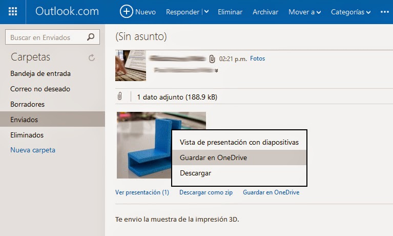 Guardar archivos adjuntos onedrive