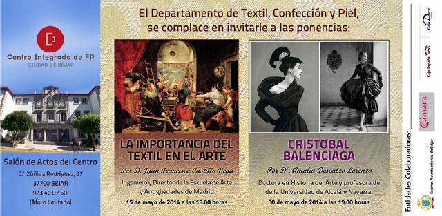 diptico anunciador de las ponencias sobre el textil