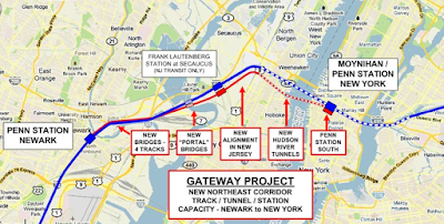 A map of the Gateway Project to build two new tunnels from New Jersey to New York as designed by Amtrak.