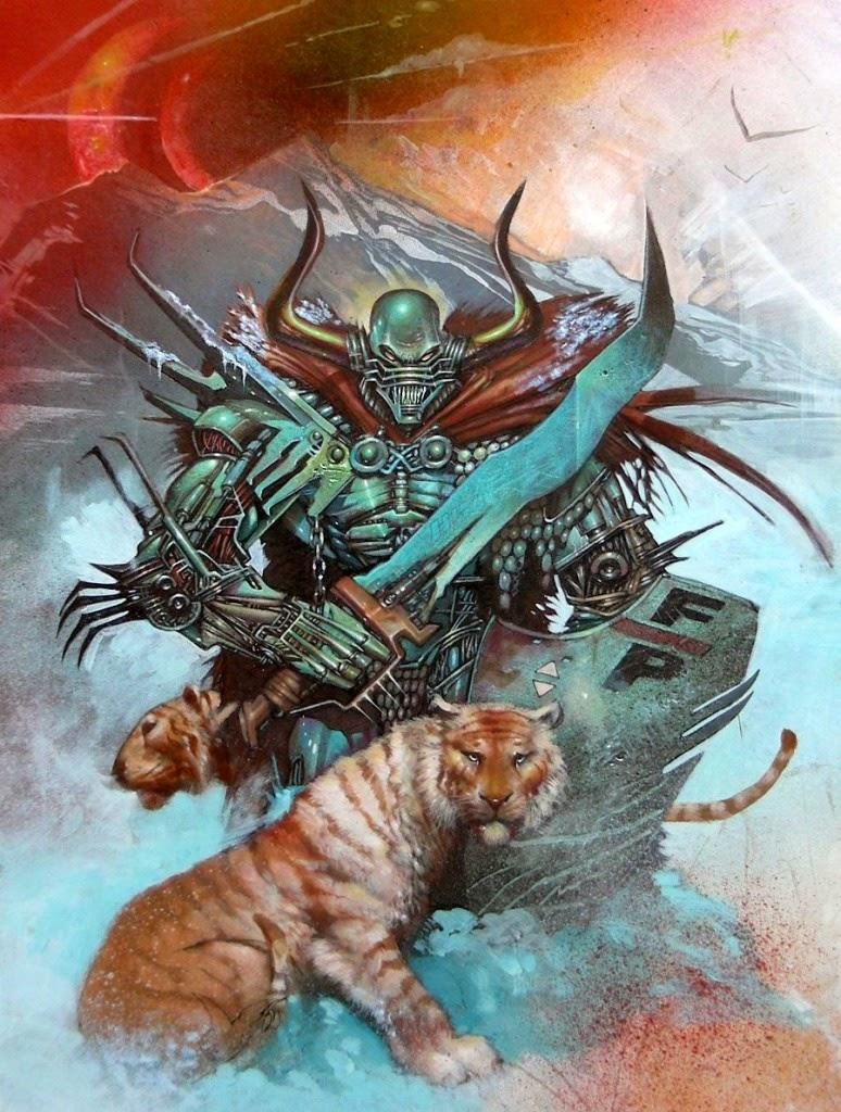 Dessin de Simon Bisley représentant une guerrier en armure derrière un tigre