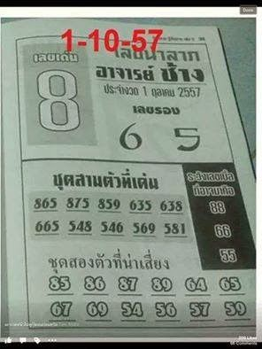 Thai Lotto Non-Missing Tips 01-10-2014