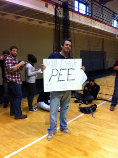 Will Drink Pee To Be On TV is what this sign says!