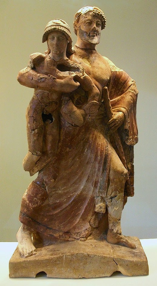 Zeus raptando a Ganimedes (terracota griega del periodo arcaico, h.480-470 a.C)  Museo Arqueológico de Olimpia