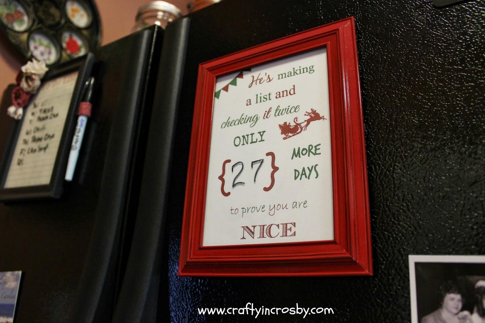 Free Christmas Countdown Printable, Santa Claus, He's Making a List, Christmas DIY, Easy Christmas Craft