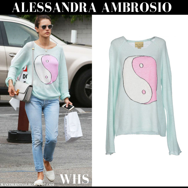 Alessandra Ambrosio in mint ying yang print sweater wildfox penny lane what she wore june 10