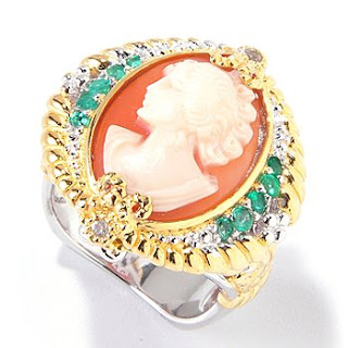 Hand Carved Shell Cameo Emerald & White Sapphire Ring