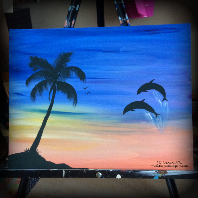 beach, ocean, dolphins, palm trees, sunrise, painting, acrylic painting
