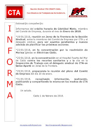 C.T.A. INFORMA CRÉDITO HORARIO CRISTOBAL NIETO, ENERO 2018