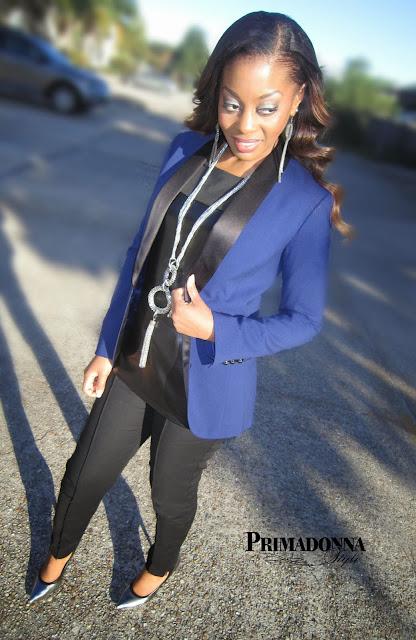 Kirna Zabete for Target Navy Black Blazer Rock & Republic Pewter Heels Worthington Pintucked Pants Leather Tee T-shirt Top Shirt Blouse
