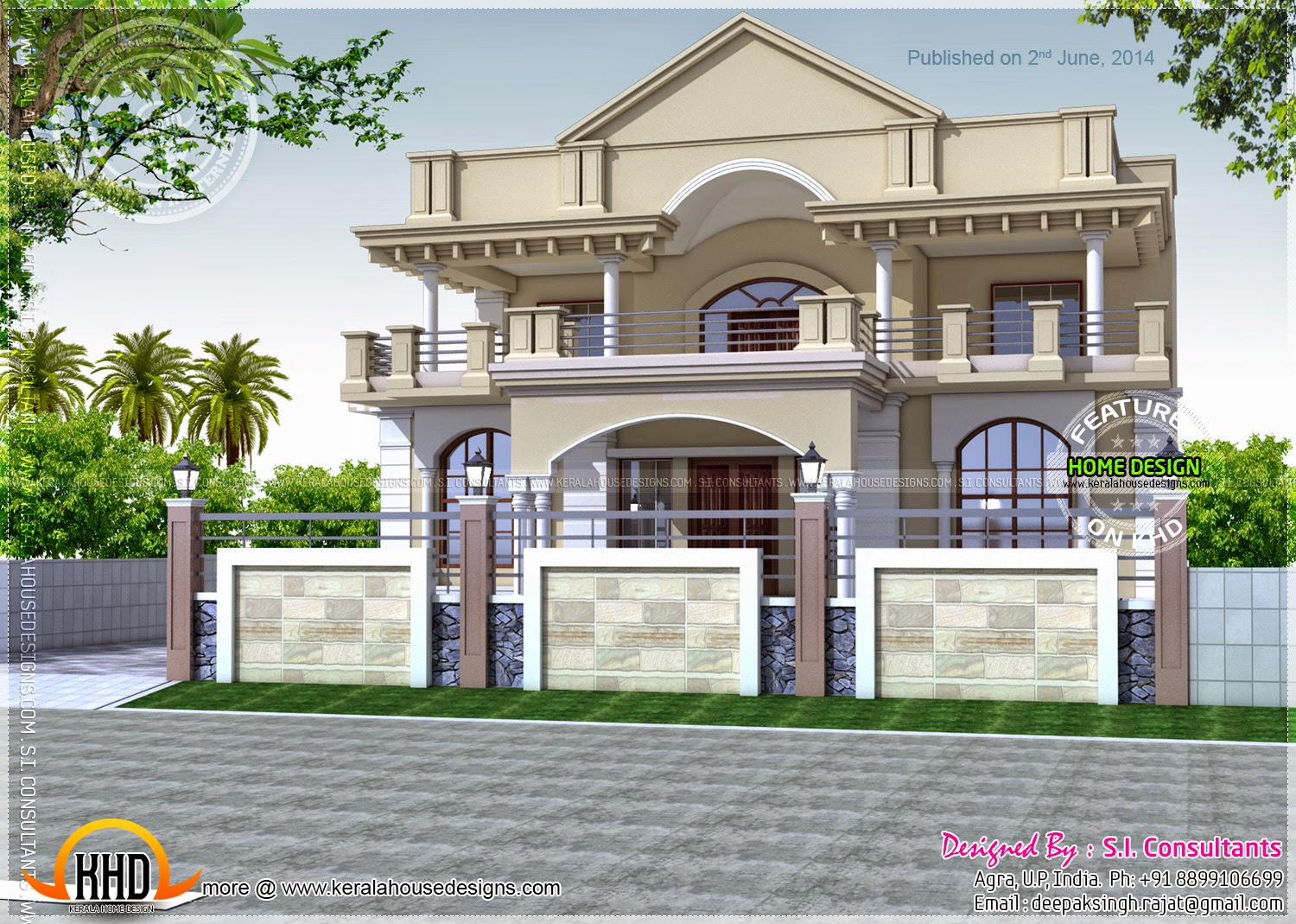 North Indian exterior house - Kerala home design and floor plans