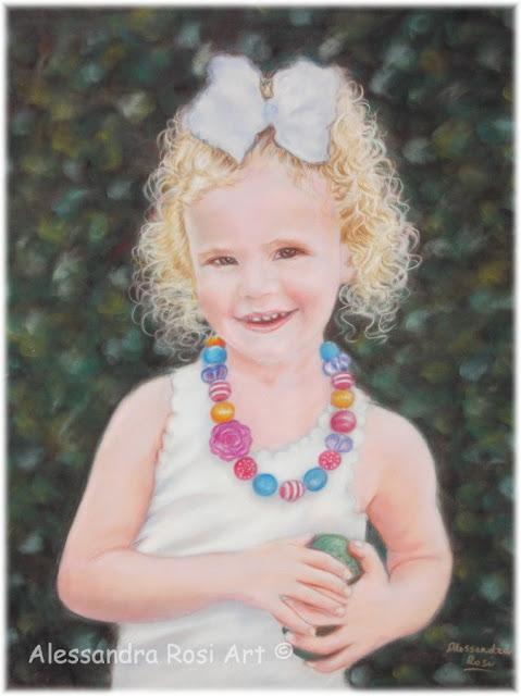 children's portraits, pastel portrait on velour