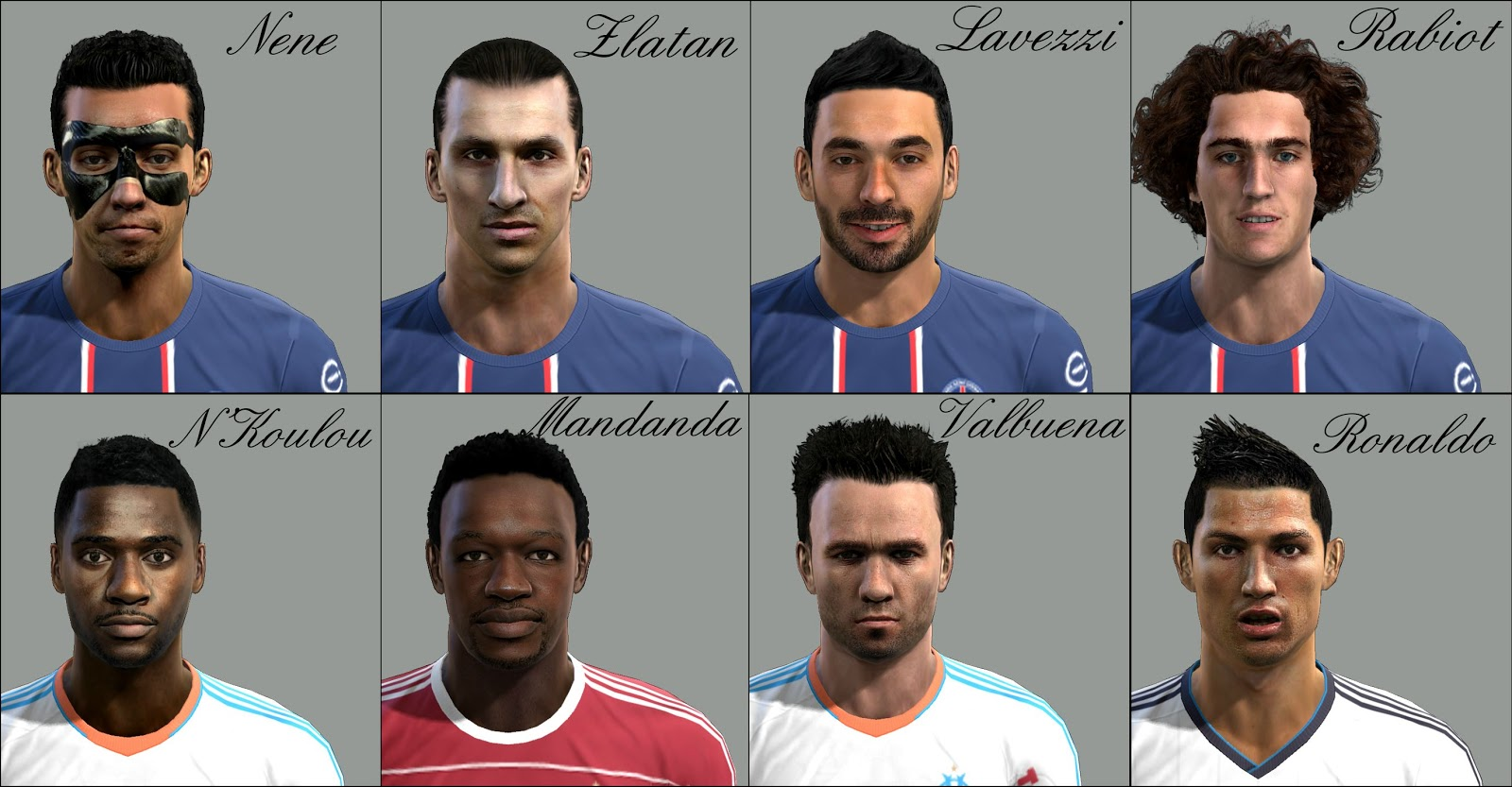 Nenê, Ibrahimović, Ezequiel Lavezzi, Adrien Rabiot, N'Koulou, Mandanda, Valbuena e Cristiano Ronaldo Faces - PES 2013