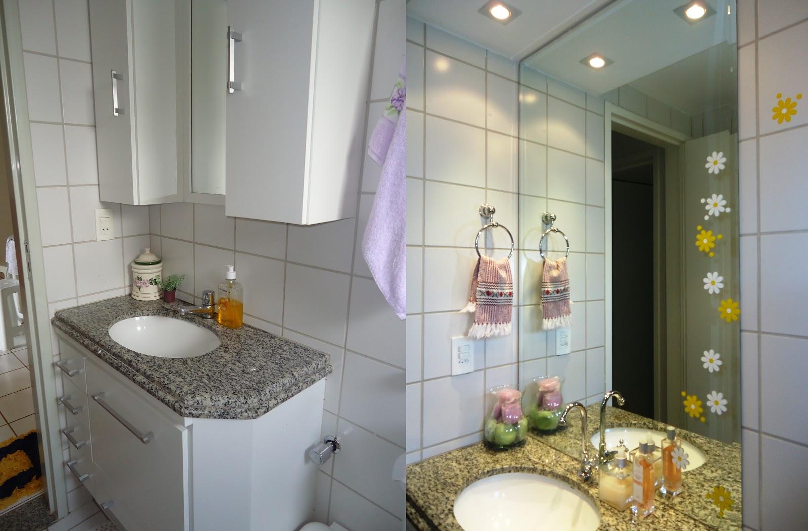 Banheiro: O armário alto foi retiradofoi e substituído por um  #604C30 1600x1052 Banheiro Com Gesso