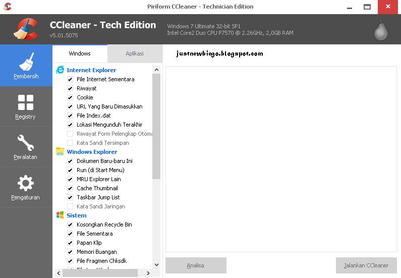 Ccleaner v5.0.5057 Technician Edition update terbaru