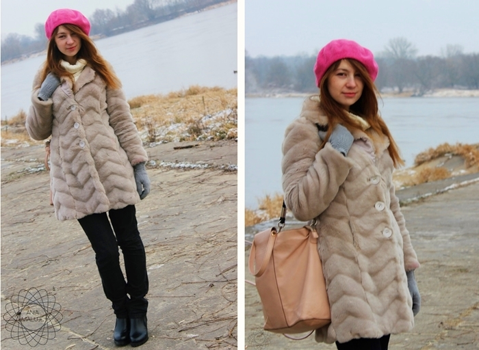 pink beret, gray grey faux fur, black booties, beige tote, winter 2014/2015 style