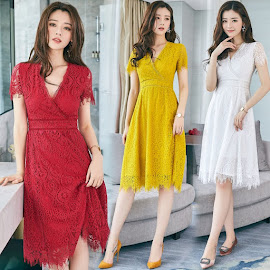 New 2017 Short Sleeve Three-Color Fringes Lace Flare Dress