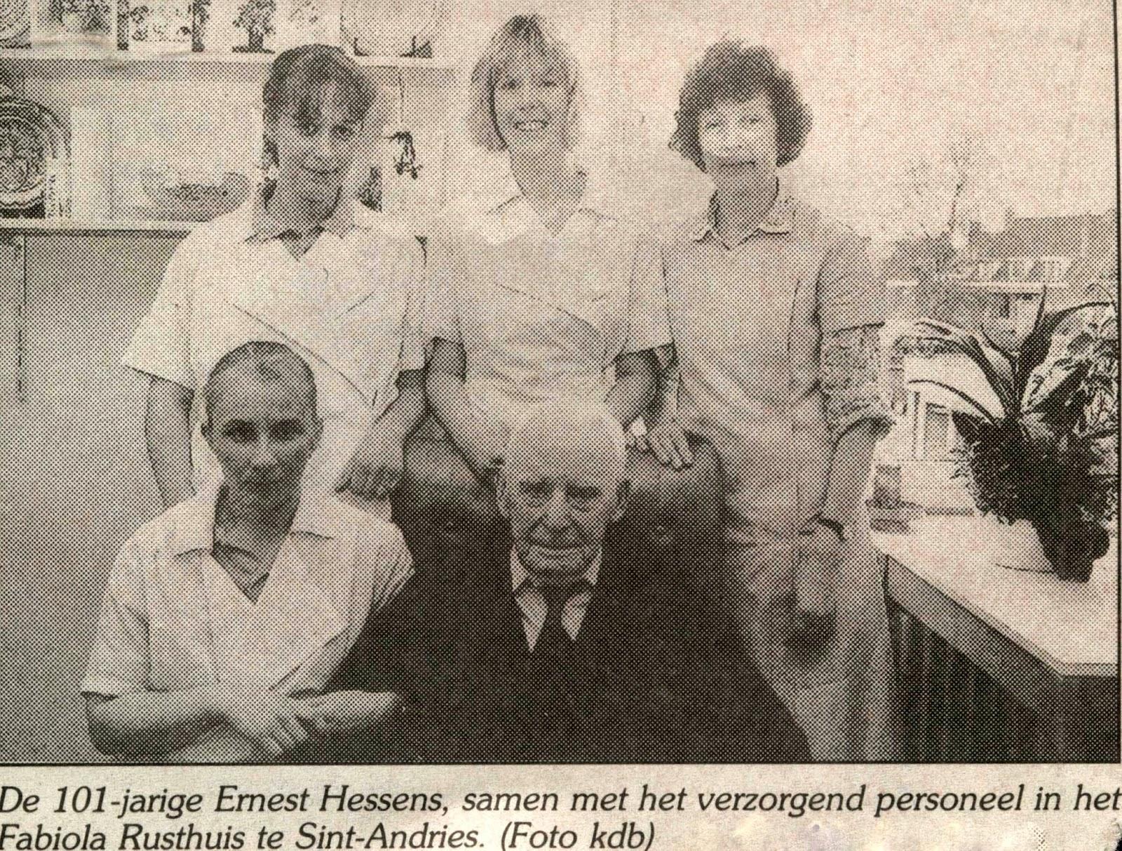 Ernest, die als 101-jarige wordt gevierd. Brugsch Handelsblad van 11 april 1991.