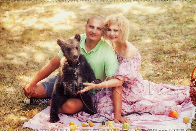 Пикник фотосессия с медведем