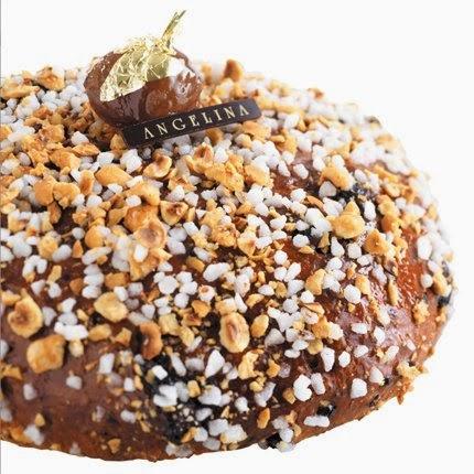 Angelina : la brioche des rois aux zestes d'agrumes, aux marrons glacés et aux brisures de chocolat.
