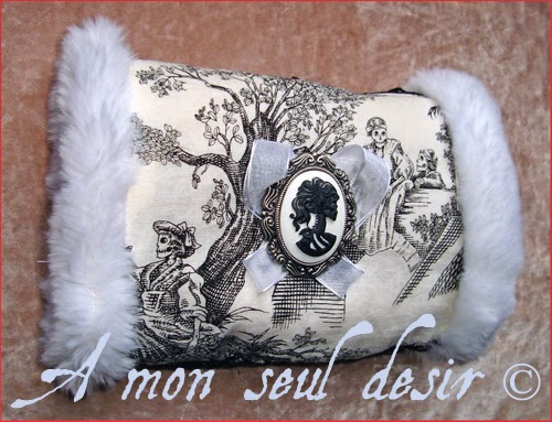 Fake Faux Fur Hand Muff Gothic Jouy Print Skeleton Skull Cameo Milady Marie Antoinette Marquise de Pompadour Goth Danse Macabre Cadavre Exquis