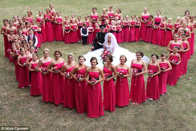 Dance teacher's 80 bridesmaids themed wedding