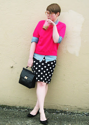 neon, short hair, polka dots, spring, chambray, vintage, fashion, fleur d'elise