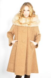 Vintage 1960's camel colored wool swing coat with light brown fox fur trim.