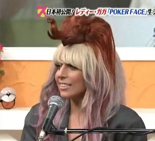 Funny Picture Clip: Lady Gaga Long hair bow Worst Celebrity Hairstyles