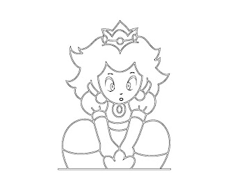 #16 Princess Peach Coloring Page