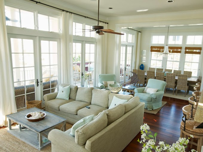House of turquoise happy place beach house for Living room 2 seating areas
