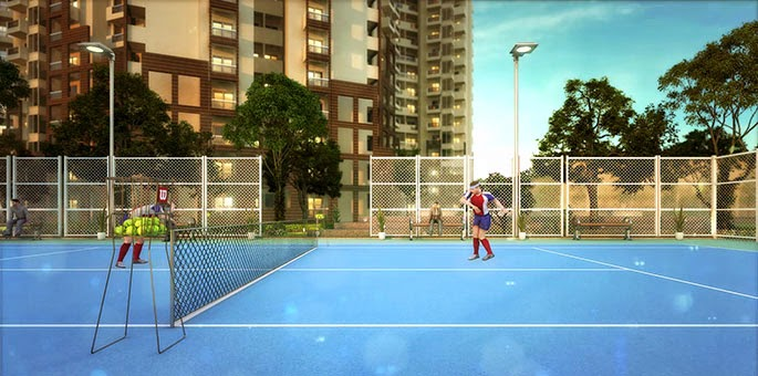 Tennis court at club house by SHRI Radha SkyGardens in Noida Extension