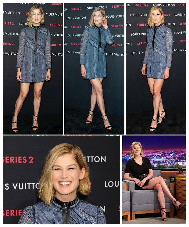 What do think? The 36-year-old, Rosamund Pike certainly drew plenty of admiring glance by her art at the big event in Los Angeles on Thursday, February 5, 2015.