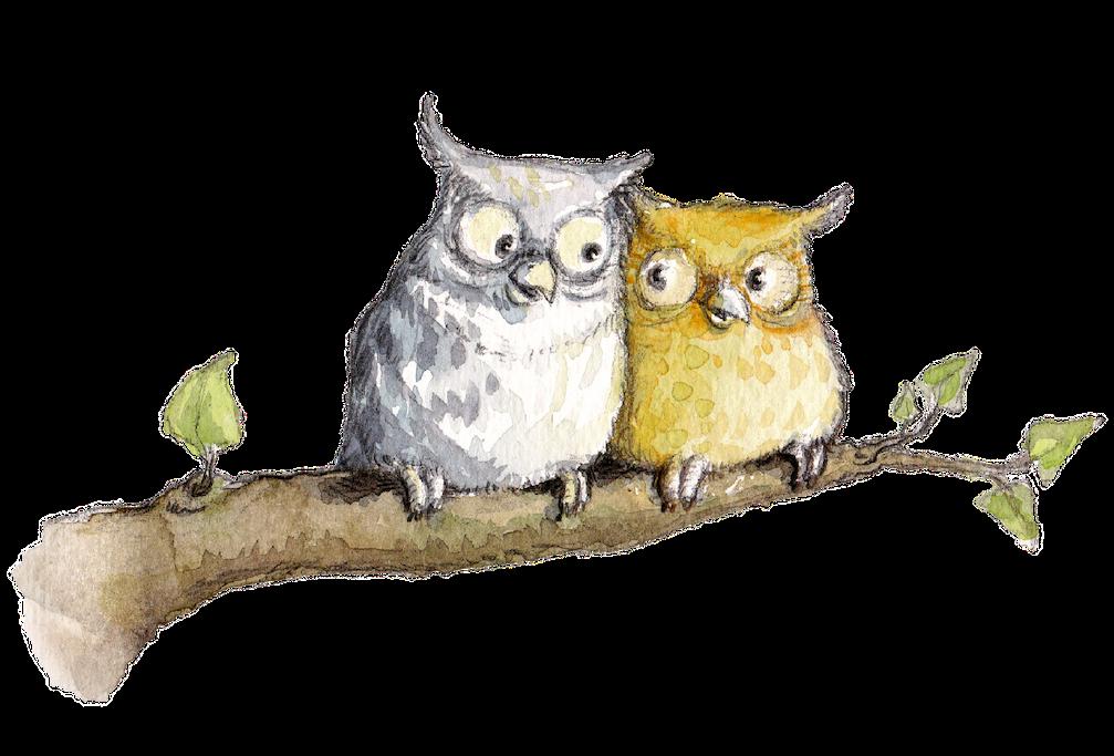 Kinderbuchillustration, Eulen, Aquarell