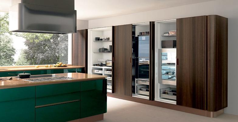 Una cocina en verde esmeralda cocinas con estilo - Puertas escamoteables ...