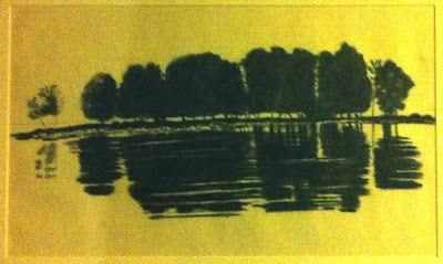 Island painting from newspaper, Kaleva, photo