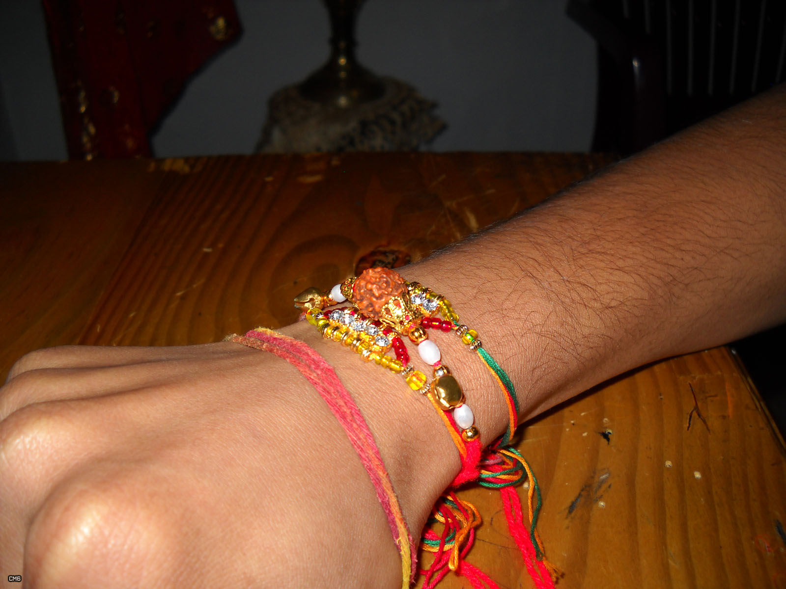brothers hand with tied Rakhies