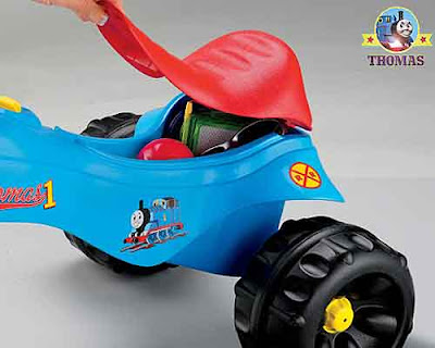 Fun play Thomas tank ride on for children toy hidden luggage compartment beneath the bike seat