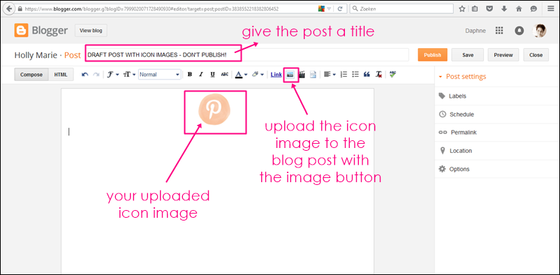 uploading an image to a blogger post