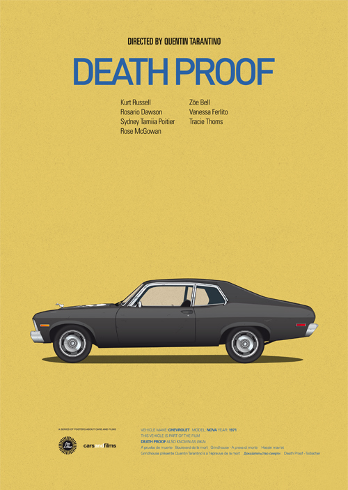 Carros famosos do cinema em posters minimalistas - Jesús Prudencio - Death Proof