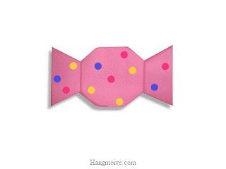 Cách gấp, xếp cái kẹo bằng giấy origami - Video hướng dẫn xếp hình đồ ăn - How to fold a candy